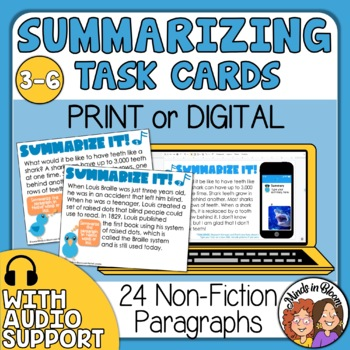 Summarizing Task Cards: Informational Text Short Passages to Summarize