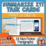 Summarizing Task Cards Print or Google Classroom Distance