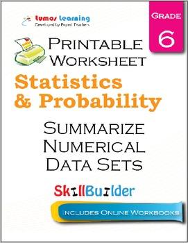 Summarize Numerical Data Sets Printable Worksheet, Grade 6