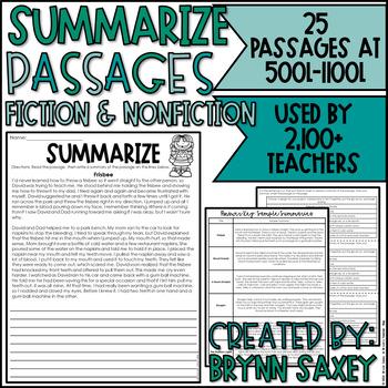 Summarizing Fiction Passages Worksheets Teaching Resources