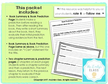 Summarize & Predict (Graphic Organizer/Worksheet) For BOOKS or CHAPTERS
