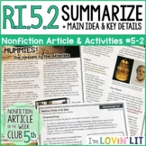 Summarize Text RI.5.2 | Making a Mummy Nonfiction Article #5-2