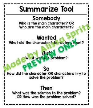 Summarize Tool (Somebody, Wanted, But, So, Then) - Writing Tool