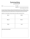 Summarize What You Read - Graphic Organizer - Concise Summary
