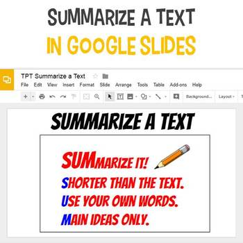 Summarize a Text in Google Slides