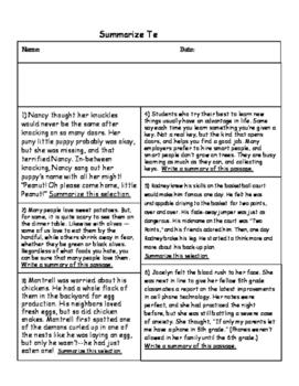 Summarize and Main Idea Tests