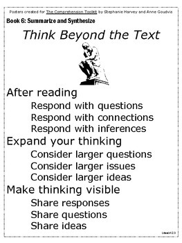 Summarize and Synthesize: Posters to use with The Comprehension Toolkit Box 6