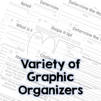 Summarize and Theme - Fiction Graphic Organizers - RL.3.2, RL.4.2, RL.5.2