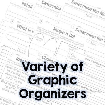 Summarize and Theme - Fiction Graphic Organizers - RL.3.2, RL.4.2, RL.5.2
