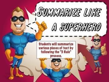 Summarize like a SUPERHERO -Fully Editable PPT -Interactive Notetaking Packet
