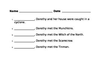 Summarizer Activity for Wizard of Oz 1st grade CCGPS