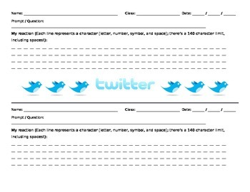 Summarizer & Graphic Organizer - Twitter Response Sheet