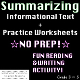 Summarizing Worksheets Writing Activities NO PREP Reading