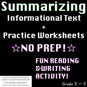 Summarizing Worksheets Writing Activities NO PREP
