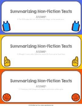Summarizing Activity: Summarize Nonfiction Reading Game