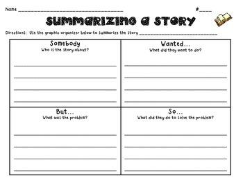 Summarizing A Story Graphic Organizer
