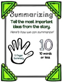 Summarizing Anchor Chart + Five Finger Summarizing Poster