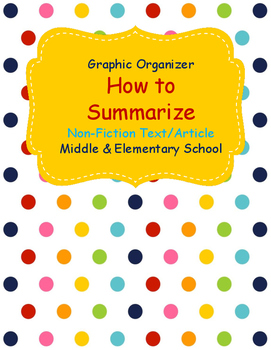 How to Write a Summary Non Fiction Graphic Organizer for Middle School