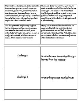 Summarizing Challenge Cards