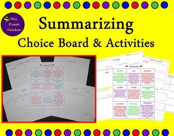 Summarizing Choice Board and Activities