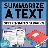 Summarizing - Differentiated Reading Stories / Passages for Summary Practice