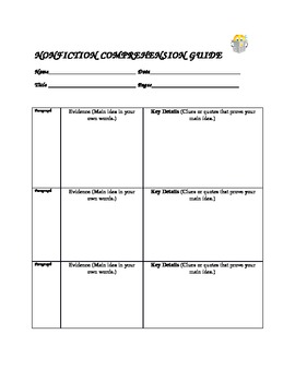 Summarizing Evidence Nonfiction Comprehension Lesson Plans and Graphic Organzier