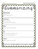 Summarizing Fic. Text- Common Core RL 2.2- Graphic Organizer & Writing Pg. Temp.