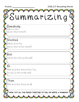 Summarizing Fic. Text- Common Core RL 2.2- Graphic Organizer & Writing Pg. Temp.