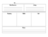 Summarizing Fiction Graphic Organizer- Post-it Notes