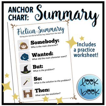Somebody Wanted But So Then Anchor Chart Worksheets