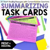 Summarizing Fiction Task Cards- Summarizing Fiction Passages & Graphic Organizer