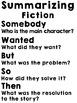 Summarizing Fiction - Worksheet and Poster-Somebody, Wante