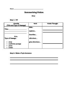 Summarizing Fiction and Nonfiction Organizer