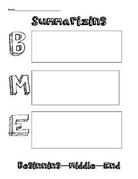Summarizing Graphic Organizers