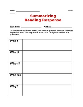 Summarizing Graphic Organizers for ELLs