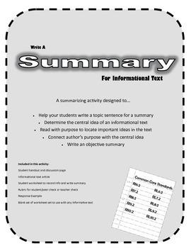 Summarizing Informational Text