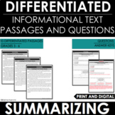 Summarizing Informational Text - Reading Comprehension Passages and Questions