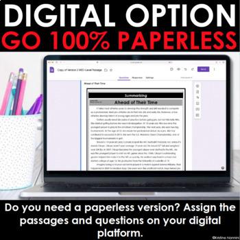 Summarizing - Reading Comprehension - Google Classroom Distance Learning