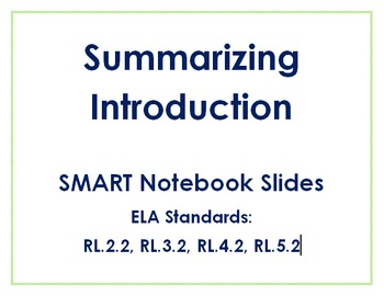 Summarizing Introduction Smart Board Lesson