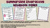 Summarizing Literature Interactive Notebook Pages