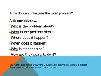 Summarizing Math Word Problems