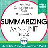 Summarizing Reading Passages, Worksheets, and Summary Grap