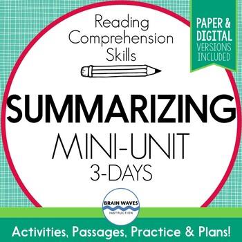Summarizing Reading Passages, Lessons, Summary Graphic Organizers Digital Option