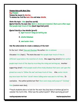 Summarizing Non-fiction (main idea/details/quotations/inferring/paraphrasing)