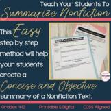 Summarizing Nonfiction Lesson, Graphic Organizers, 12 Diff