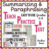 Summarizing & Paraphrasing PowerPoint, Notes, Worksheets,