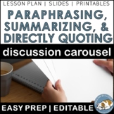 Summarizing, Paraphrasing, and Directly Quoting Carousel--a STEM ELA lesson