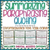 Summarizing Paraphrasing Quoting Text Task Cards