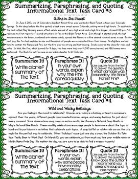 Summarizing Paraphrasing Quoting Task Cards
