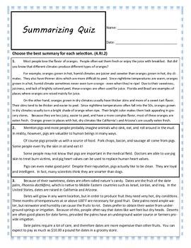 Summarizing Quiz for Fourth Grade
